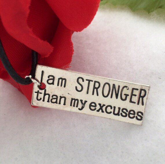 Fitness Sports Crossfit Jewelry, I am Stronger Than My Excuses Charm Necklace, Coach Trainer Team Gift, Motivational Inspirational Quote