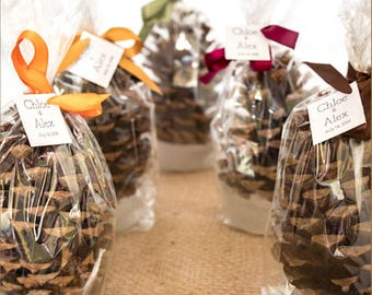 Pine Cone Fire Starter Fall Winter Wedding Favors, Bridal Shower Favor, Woodland Table Decor, Rustic Nature Favors Personalized Party Favors