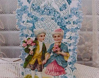 Beautiful Antique Fold Out German Valentine Card
