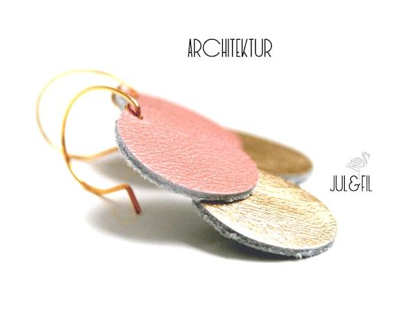 Gold plated Stud Earrings 18K and rose gold leather juletfilarchitektur ©