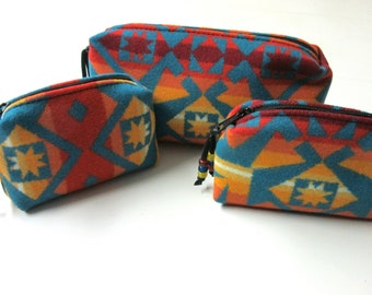 Gift Set of 3 Wool Zippered Pouches Purse Organizers Travel Bags Blanket Wool from Pendleton Oregon