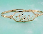 Personalized, Handmade Name Bracelet, Sized to fit, Sterling, Gold, Wire Writing, Clasp Bracelet, Custom, Any Name, Rose Gold, Two Tone