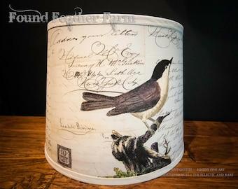 Hand Printed French Botanical Ephemera Drum Lamp Shade