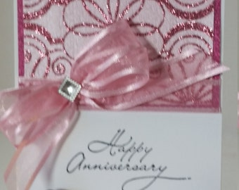 Unique, Standout, Pink and sparkly Anniversary Card