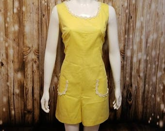Vintage, 60's, daisy chain embellished yellow romper, Large
