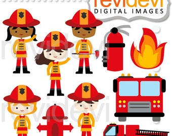 Firefighter clipart sale / Kids in firefighter costume / Little Firefighter commercial / fire, truck, extinguisher clip art commercial