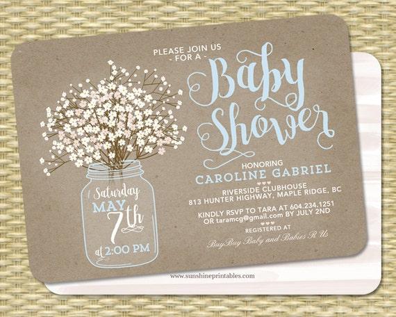 Baby Shower Invitation Baby Boy Mason Jar Babys Breath