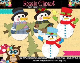 Snowman 13a Clipart (Digital ZIP File Download)