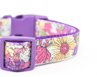 Purple Floral Girl Dog Collar Pink and Violet Girly Dog Collar - Lauretta