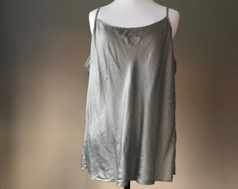 XL / Gray Silk Cami Camisole Lingerie Top / Extra Large / FREE USA Shipping