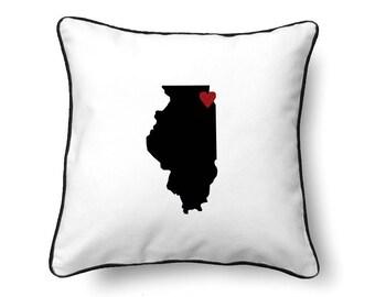 Illinois Pillow - Illinois Gift - Illinois Map - IL State Map