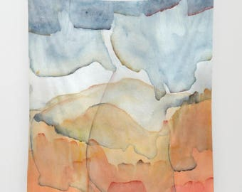 """Wall tapestry with fine art print. Abstract watercolor painting in burnt orange and blue """"Blue and Orange Merger"""" Statement decor"""
