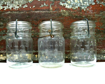 Clear Glass Canning Jars, Set of 3 Vintage Atlas E-Z Seal Pint Containers with Glass Lids & Wire Bails