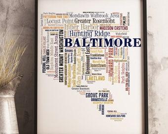 Baltimore Map Art, Baltimore Art Print, Baltimore Neighborhood Map, Baltimore Typography Art, Baltimore Poster Print, Baltimore Word Cloud