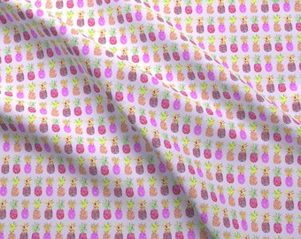Festive Fabric - Bright Pineapple Purple Mini Summer Fruit Ditsy Tropical Colorful By Erinanne - Cotton Fabric By The Yard With Spoonflower