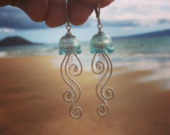 Jellyfish Earrings! Hand Sculpted Glass, Fine Art Jewelry