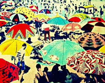 Beach art coastal decor beach artwork beach art print, vintage beach decor, ocean art, Outdoors Gift, coastal decor beach wall art 12x12