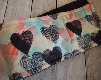 Pastel and Black Hearts Dog Diaper Belly Band, Waterproof PUL, Stop Marking, WeeWrap,  Personalized