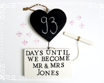 Wedding countdown chalkboard sign, Days until I do, Mr and Mrs, Fiancé gift, Fiance gift, Chalkboard sign, Days until we become Mr and Mrs