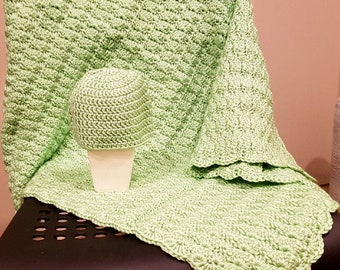 Handmade Crochet Baby Blanket, Baby Boy Blanket, Baby Girl Blanket, Mint Green, Stroller, Travel, Car Seat Baby Blanket, READY TO SHIP