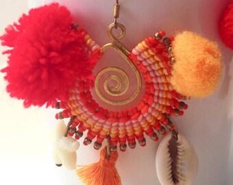Earrings Orange macrame