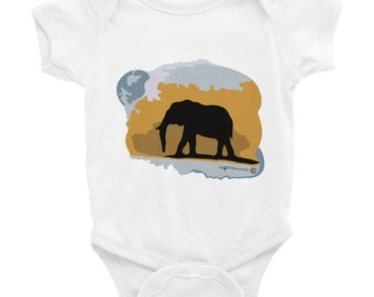 Elephant Silhouette Design baby onesie. Colorful, stylish, edgy Elephant clothes for baby. Style your little one in fashion, comfy & cute