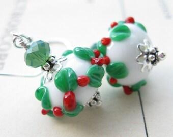 Holly Wreath Lampwork Earrings Christmas Holiday