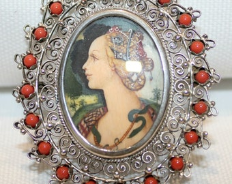 Antique Continental Silver Miniature Hand-painted Portrait Brooch