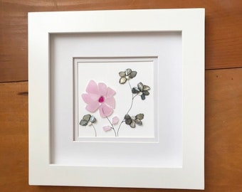 Recycled glass and seashell flower art