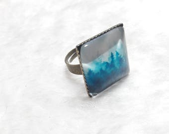 Beautiful forest bronze square ring