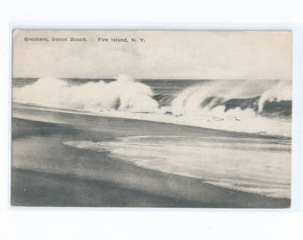 """Breakers, Ocean Beach. Fire Island, N.Y.  Postcard to """"Early Birds"""" Aviator and Champion Bicycle Racer Bertell """"BUZZ"""" W. King  1920s"""