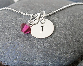 Personalized Jewelry - Handstamped Jewelry - Initial Necklace - Birthstone Necklace