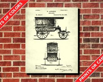 Vintage Ambulance Poster Medical Patent Print Medical Decor Medical Student Gift