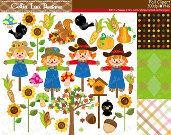 Fall Clipart , Harvest Clipart , Fall Harvest Digital Clipart and paper set, fall clip art , Autumn clipart , scarecrow clipart (CG179)
