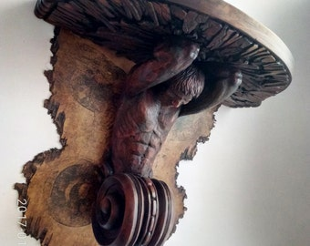 Carved wall shelves.