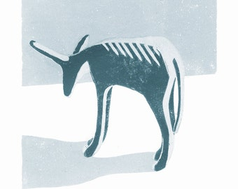 Little Grey Donkey A3 poster-print from a linocut