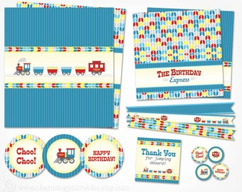 Train Party Decor - INSTANT DOWNLOAD Printable Train Birthday Party Package Decorations for Transporation Theme Boy Birthday Choo Choo I'm 2