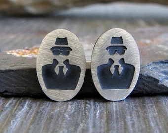 Secret Agent spy post earrings. Handcrafted in sterling silver. Undercover geek stud jewelry.  007 James Bond.  Geekery quirky gift.