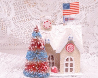 Cubs Putz House Ornament Handmade Gingerbread Candy Flag