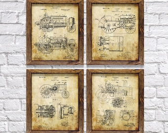 "John Deere Decor! - Set of Four 8""x10"" John Deere Tractor Patent Prints - Great Gift for Farmers!"