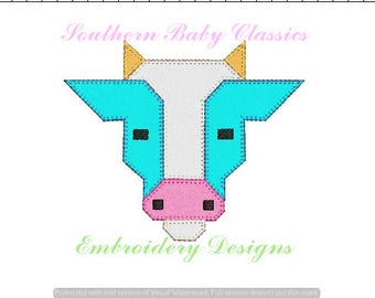 Cow Bull Quilt Square Inspired Blanket Stitch Applique Design File for Embroidery Machine Instant Download Boy Farm Cows