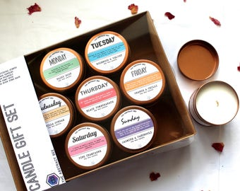 Days of the Week Candle Gift set soy wax rose gold copper tins