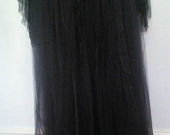 """Gorgeous goth/victorian/steampunk BLack Lacy full length skirt,lined,layered.26""""WAIST"""