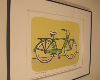 Green Bicycle - A Bike in the Transportation Series by Danielle J. Hurd Signed and Framed Print