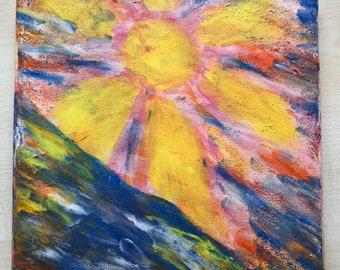Wild Sun-Acrylic on canvas hand painted abstract art