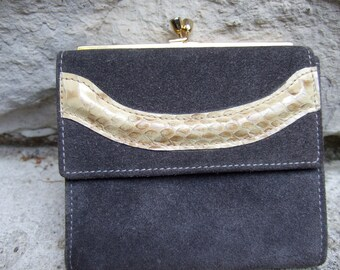 NEIMAN MARCUS Gray Suede Snakeskin Wallet  Made in ITALY