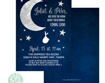 Over the Moon Baby Shower Invitation | Moon Baby Shower Invitation | Moon Invitation - 5x7 with reverse side