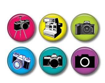 Cameras pinback button badges or fridge magnets, fridge magnet set