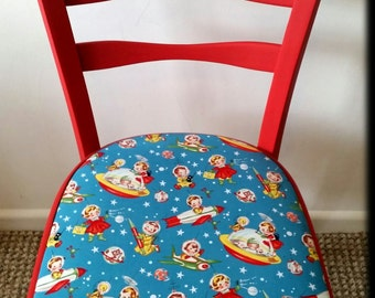 Cute Cafe Chair Up styled with Retro Rocket fabric