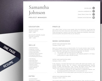 One page resume Etsy
